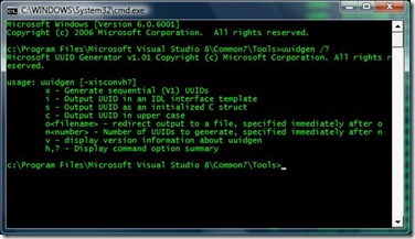 GUID in command prompt.
