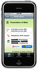 iMeet- IPhone shows a clear and crisp meeting detail.